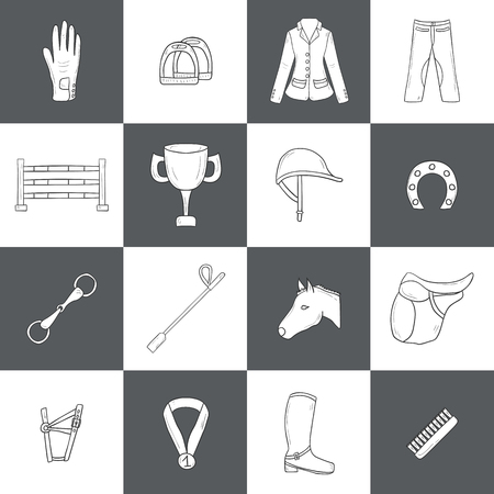 show jumping: Set of horse riding objects. Show jumping concept with horse equipment (saddle, spurs, brush), rider clothes (helmet, jacket, pants), barrier, prize. Equestrian competition. Healthy outdoor activity design Illustration
