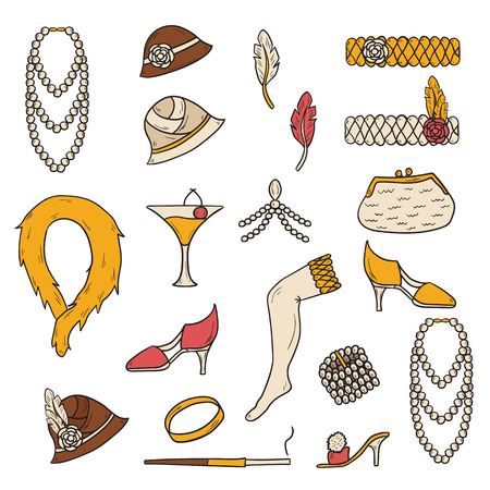 stockings woman: Set of retro fashion 1920s 1930s objects with hand drawn women hats, clothes, jewelry. Chicag party style. Old-fashioned retro-styled design