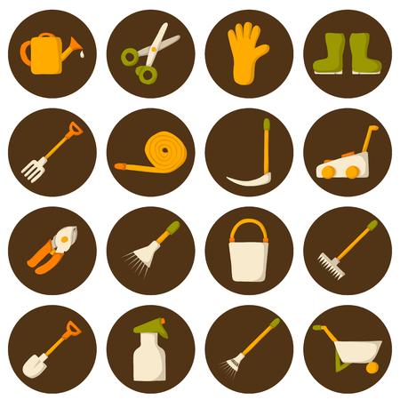 crop sprayer: Set of cute cartoon icons with garden tools for your design. Garden rural work concept