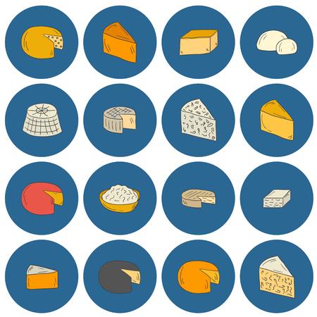 intolerancia: Conjunto de iconos de tipo de queso estilo dibujado a mano de dibujos animados. cocina étnica concepto nacional europa. La producción de leche. productos diarios italianos y franceses. intolerancia a la leche de alimentos prohibidos