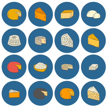 intolerance: Set of cheese type icons in cartoon hand drawn style. National ethnic europe cuisine concept. Milk production. Italian and french daily products. Milk intolerance prohibited food