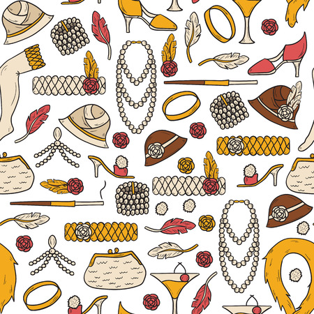 thirties: Seamless background with retro fashion 1920s 1930s objects: women hats, clothes, jewelry. Chicago party style. Old-fashioned retro-styled design. Simple hand drawn cartoon style