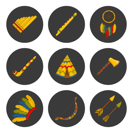 habit: Vector cartoon indian icons: wigwam, flure, dreamcatcher, axe. Native american tribal tradition with wigwam and dreamcatcher. Indian habit and wigwam lifestyle. Tribal dreamcatcher, flure, axe, wigwam