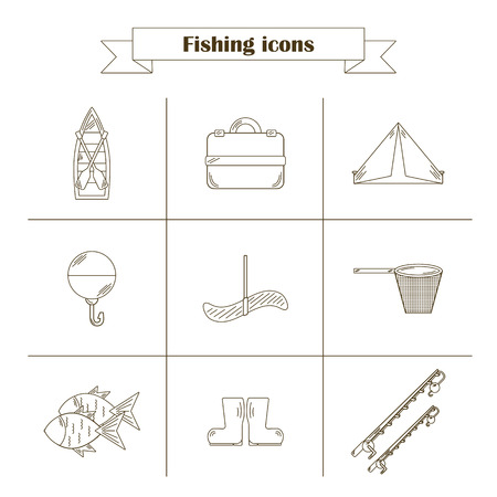 sinker: Set of simple line flat fishing icons. Outdoor activity hobby concept