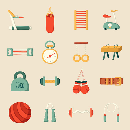 fitness equipment: Set of cartoon gym icons. Sport healthy life concept. Fitness  equipment design