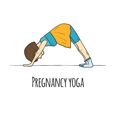 pregnancy yoga: Hand drawn yoga for pregnant women concept. Card or logo design. Active sport pregnancy and healthy lifestyle illustration. Down dog pose Illustration