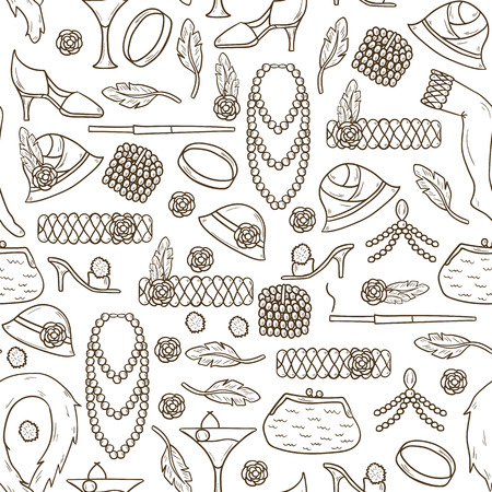 jewelry background: Seamless background with retro fashion 1920s 1930s objects: women hats, clothes, jewelry. Chicag party style. Old-fashioned retro-styled design. Simple hand drawn cartoon style