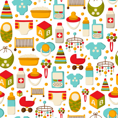 nipple: Seamless background with cute cartoon objects on baby theme. Baby care concept with hand drawn objects: baby carriage, nipple, building blocks, baby crib, beanbag, diapers, baby monitor, baby bath for your design