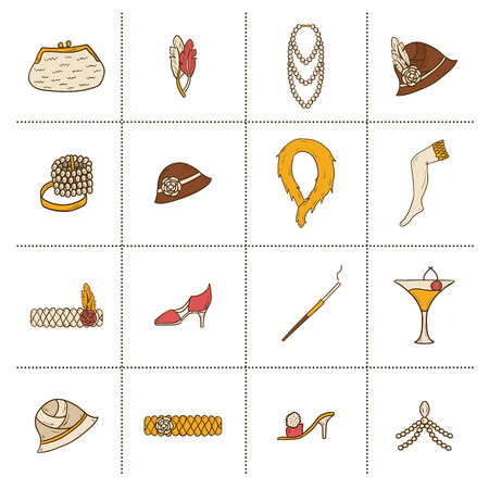 black boa: Set of retro fashion 1920s 1930s objects with women hats, clothes, jewelry. Chicag party style. Old-fashioned retro-styled design. Simple hand drawn icons Illustration