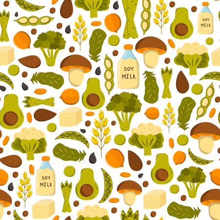 soy free: Seamless background with cartoon objects. Vegan protein source: tofu, soya beans, milk, quinoa, lentil, chia. Healthy vegetarian, vegan, raw food concept design. Organic shop, store, market design