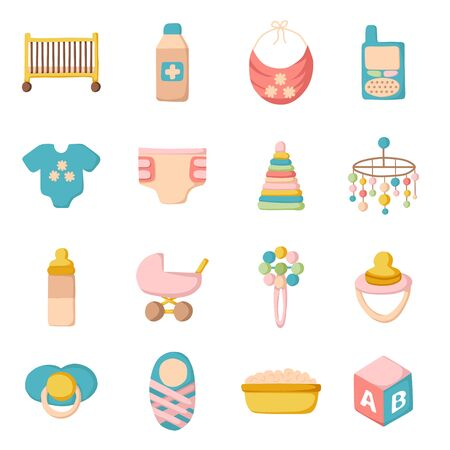 nipple: Vector cute cartoon objects on baby theme. Baby care concept with cartoon objects: baby carriage, nipple, building blocks, baby crib, beanbag, diapers, baby monitor, baby bath for your design
