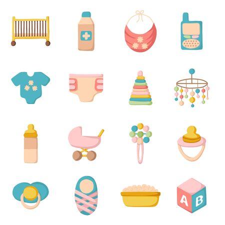 Vector cute dessin animé des objets sur le thème de bébé. Bébé concept de soins avec des objets de dessin animé: landau, mamelon, blocs de construction, lit bébé, pouf, couches, moniteur pour bébé, baignoire bébé pour votre conception