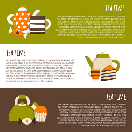 teatime: Vector teatime cartoon background. Tea ceremony concept