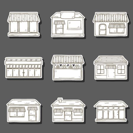 bakery store: Set of hand drawn cartoon store objects. Shop building or supermarket concept. Front store facade stickers. Architecture street design: store, cafe, restaurant, bakery, commercial centre, boutique, grocery