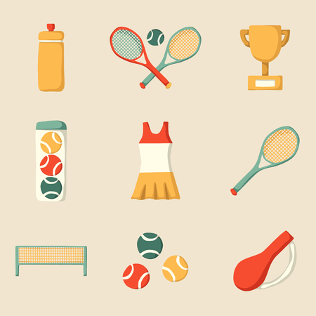 Set of cartoon tennis icon: court, tennis racket, cup bottle, ball. Tennis championship concept. Vector tennis icons for sports design. Outdoor sport activity concept. Tennis competition cartoon icons