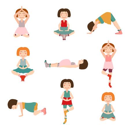 pregnancy yoga: Set of cartoon pregnant women on pregnancy yoga theme Illustration