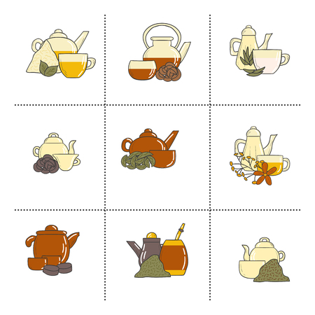 tea ceremony: Tea ceremony set with teapots and cups in hand drawn style. Kinds of tea: green, red, yellow, puer, black. Chinese asian culture concept