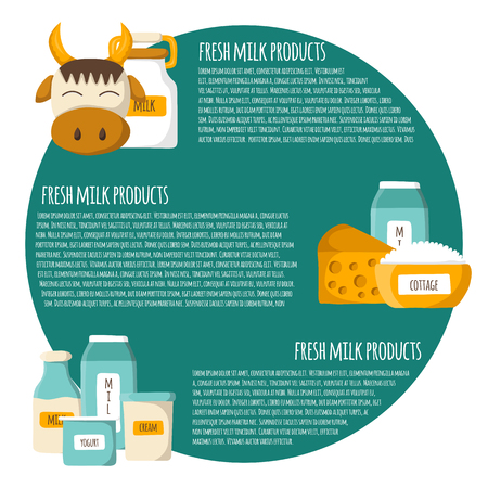 dairy products: Concept with cartoon cute milk products. Milk intolerance or lactose free concept. Dairy products. Natural organic milk good. Farm production concept. Milk benefits, calcium production Illustration