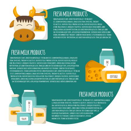intolerancia: Concepto con el dibujo animado lindo productos l�cteos. intolerancia a la leche o el concepto libre de lactosa. Productos l�cteos. Natural de buena leche org�nica. Concepto de la producci�n agr�cola. beneficios de la leche, la producci�n de calcio