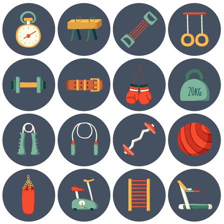 fitness equipment: Set of cartoon gym icons. Sport healthy life concept. Fitness  equipment design
