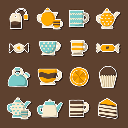 tea ceremony: Vector cartoon teatime icons. Vector illustration with tea ceremony objects. Traditional teatime goods. Tea party illustration. Cartoon english 5 oclock icons. Traditional english tea concept Illustration