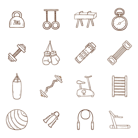 fitness equipment: Set of cartoon hand drawn gym icons. Sport healthy life concept. Fitness  equipment design Illustration