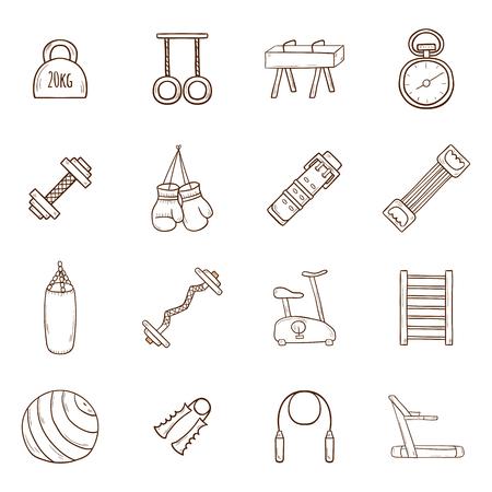 crossbar: Set of cartoon hand drawn gym icons. Sport healthy life concept. Fitness  equipment design Illustration