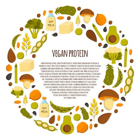 漫画オブジェクトとラウンドの背景。タンパク質のビーガン ソース: 豆腐、大豆、ミルク、キノア、レンズ豆、チア。健康的なベジタリアン、ビーガン、ローフード コンセプト デザイン。オーガニック ショップ、ストア、マーケット デザイン 写真素材 - 55413085