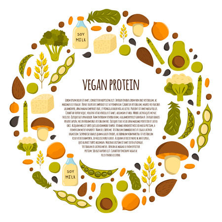 Round background with cartoon objects. Vegan protein source: tofu, soya beans, milk, quinoa, lentil, chia. Healthy vegetarian, vegan, raw food concept design. Organic shop, store, market design Illustration
