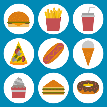 american cuisine: Vector american fast food concept with cartoon flat objects: fried potato, hot dog, soda, hamburger, sandwich for your design. American cuisine. Healthy, unhealthy food, obesity concept.