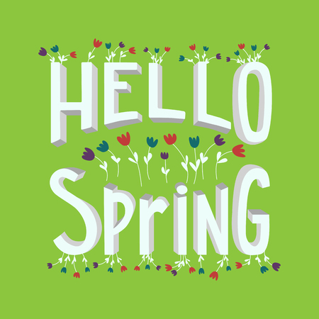 vernal: Vector spring lettering in cute cartoon style. Modern banner template on spring season with hand drawn flowers. Lettering with volumetric letters