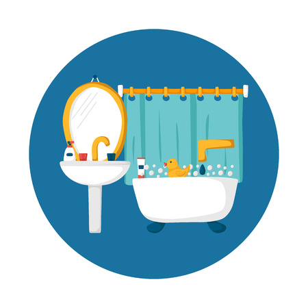 Cute cartoon bathroom concept: bath, duck, toothpaste, sink, creams, mirror. Indoor house concept. Bath things design