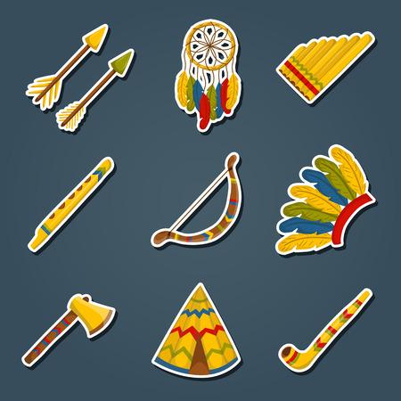 habit: Vector cartoon indian icons: wigwam, flure, dreamcatcher, axe. Native american tribal tradition with wigwam and dreamcatcher. Indian habit and wigwam lifestyle. Tribal dreamcatcher, flure, axe, wigwam