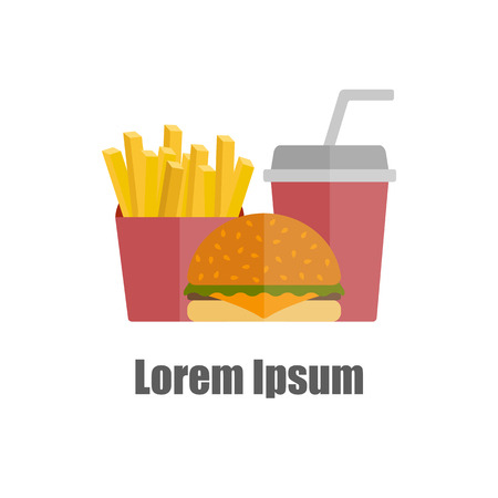american cuisine: American food or meals concept. Fast food cafe or restaurant. Flat objects: burger, french fries, soda. Junk unhealthy food. Obesity concept for flat infographics. American cuisine fast food template Illustration