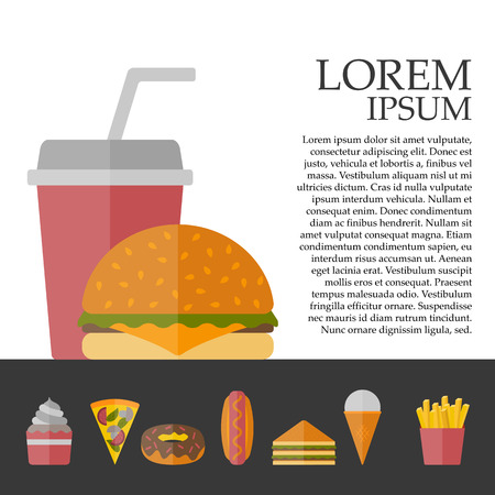 american cuisine: Vector american fast food concept with cartoon flat objects: fried potato, hot dog, soda, hamburger, sandwich for your design. American cuisine concept. Junk unhealthy food. Banner or card design Illustration