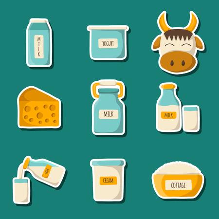 intolerancia: productos l�cteos vector. Leche sin lactosa concepto de intolerancia. La producci�n de leche: queso, leche, reques�n, yogur, crema. concepto libre de lactosa. producto de la leche de vaca sana. la producci�n de leche de granja. Leche de alimentos org�nicos Vectores