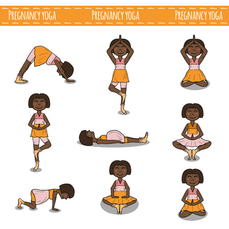 pregnancy yoga: Set of hand drawn pregnant african american women on pregnancy yoga theme. Healthy lifestyle and active pregnancy concept. Yoga poses for pregnant woman. Health care and bode care. Yoga studio Illustration