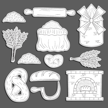 furnace: Set of hand drawn cartoon bread harvest objects: loaf, flour, furnace, mill. Bread production. Rural work concept