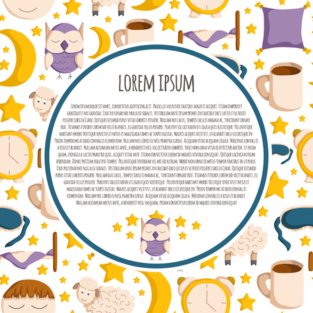 insomnia: Vector background with cute cartoon objects on sleep theme. Vector insomnia concept. Cartoon sleeping objects: bed, lune, sheep, sleeping mask, pillow, owl. Vector sleeping background in cartoon style Illustration