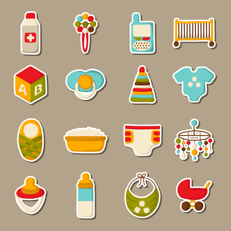 beanbag: Vector cute cartoon objects on baby theme. Baby care concept with stickers: baby carriage, nipple, building blocks, baby crib, beanbag, diapers, baby monitor, baby bath for your design
