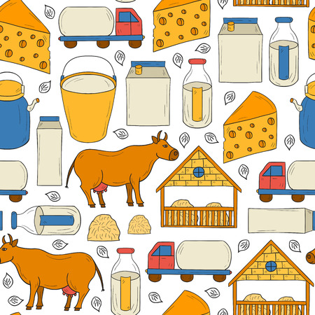 milk production: Seamless hand drawn milk production background for your design