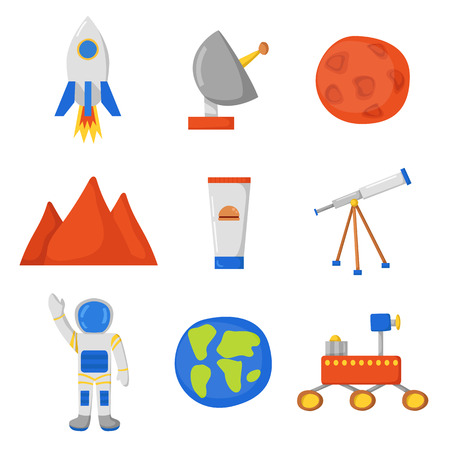 colonization: Set of objects on Flight to Mars theme in cute cartoon style. Astronaut, Mars mountain, cosmic food, rover, planets Earth and Mars. Colonization project concept. Human adventure to red planet