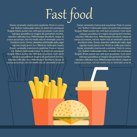 Vector american fast food concept with cartoon flat objects: fried potato, soda, hamburger for your design. American cuisine concept. Junk unhealthy food. Banner, infographic or card design