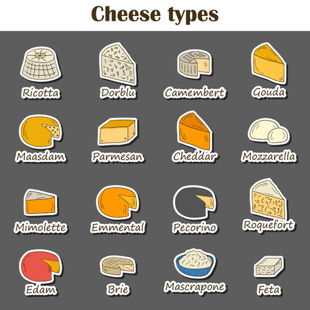 milk production: Set of cheese type icons in cartoon hand drawn style. National ethnic europe cuisine concept. Milk production. Italian and french daily products. Milk intolerance prohibited food