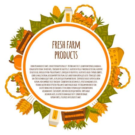 Vector Cartoon Farm Products Background. Healthy Organic Fresh Natural Farm  Products Concept. Green Farm