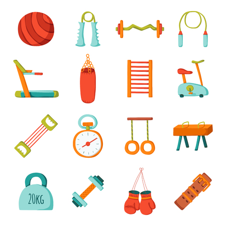 fitness equipment: Set of cartoon gym icons. Sport healthy life concept. Fitness equipment design. Sport gym cartoon objects. Indoor gym equipment. Fitness activity concept. Cartoon fitness club equipment Illustration