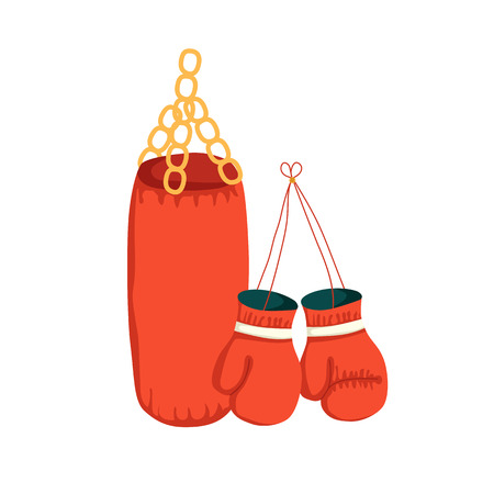 punching bag: Vector cartoon boxing gloves and punching bag. Sport illustration with boxing object. Fight boxer isolated equipment: punching bag and boxing gloves. Thai box or kickboxing vector background Illustration
