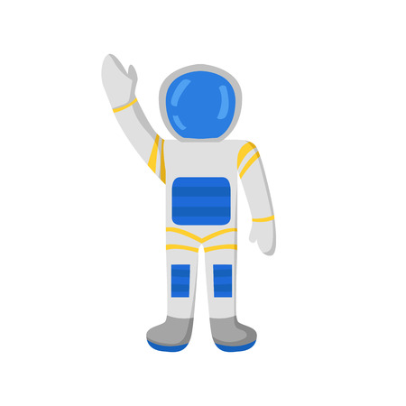 spacesuit: Vector cartoon character astronaut in spacesuit. Flight to Mars and Moon concept. Great for children book or encyclopedia. Cartoon astronautcosmonaut character waves hand. Universe travel adventure Illustration