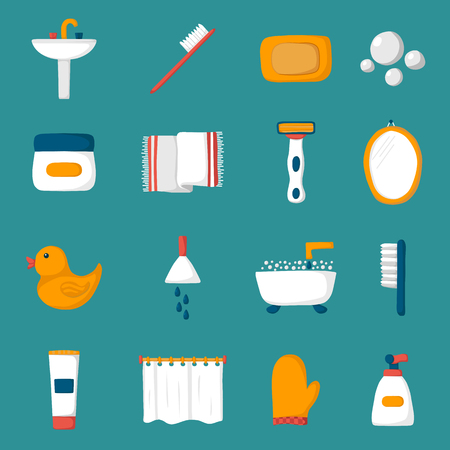 sanitary towel: Set of cartoon bathroom icons: bath, duck, toothbrush, towel, sink, creams, mirror. Indoor house concept. Bath things design. Vector bathroom icons. Cute objects on bathroom theme Illustration