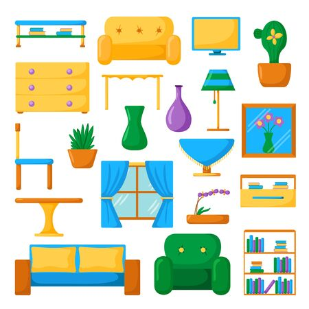 living room furniture: Living room interior. Living room furniture. Set of vector cartoon living room icons. Vector indoor design. Cartoon colorful furniture. Home living room design. Modern furniture for house interior